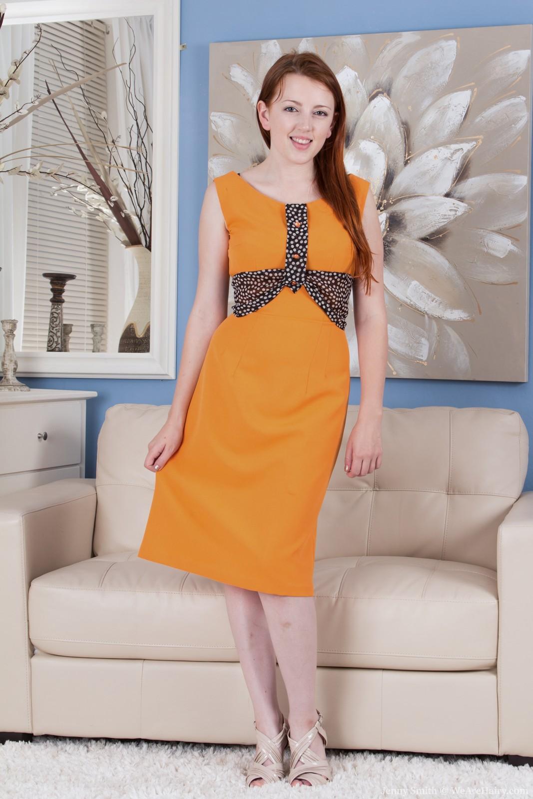JennySmith-OrangeDressGreyBra-001