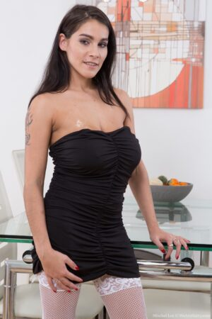 Mischel Lee takes off black dress and stockings